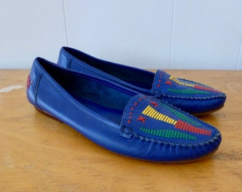 80's Blue Leather Flats Moccasin Shoes Whip Stitch Embroidered Primary Color Slip On Loafers 10