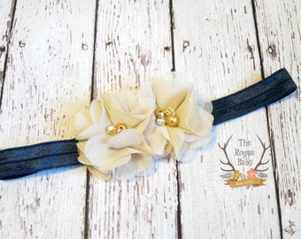 Latte & Navy Blue Petite Headband -  Flower Girl - Newborn Infant Baby Toddler Girls Adult Wedding Tan