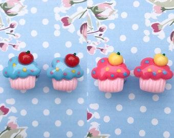 Cupcake resin stud earrings