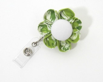 Green & White  Badge Reel, Retractable ID Holder, Badge Holder, ID Badge, Lanyard, Flower Badge Reel, Flower ID Holder, Nurse-Two Styles