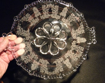Vintage Paden City Glass Gazebo Tray with Bead Handles - 1930's - from DustyMillerAntiques