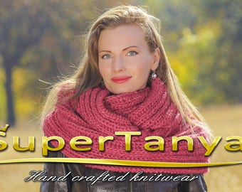 Pink purple alpaca round scarf infinity shawl by SuperTanya