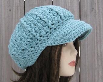 Newsboy hat, woman light Teal Visor City cap, Newsboy Beanie hat, billed visor hat, smaller visor beanie