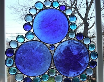 Cobalt Blue Wine Bottom Pieces Sun Catcher