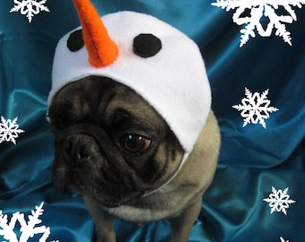 The Snowman Hat: Hat with Felt Carrot Nose and Felt Coal Eyes, Dog Snowman Hat, Xmas Dog Christmas Hat, Pug Hat, Christmas Dog Costume