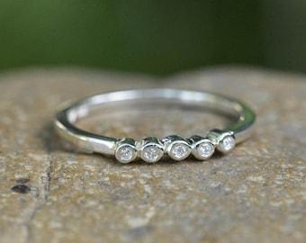 Wedding ring, diamond ring, row of diamonds, five 5 diamonds, conflict free diamond, white band, bezel set, dot wedding ring, pebble ring,