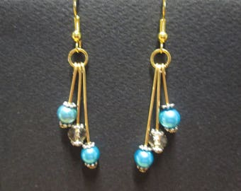 Turquoise satin glass and Crystal bead earring