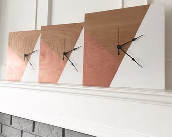 Geometric, Wooden Clock, Handmade Clock, Wall Clock,