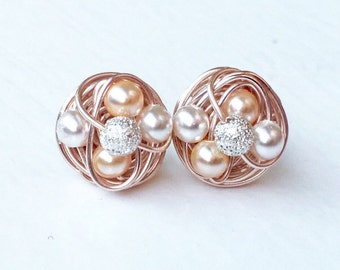 Rose Gold Stud Earrings - Wire Wrapped Studs With White / Peach Swarovski Glass Pearls and Silver Stardust Beads - VDazzled Mix it up Series