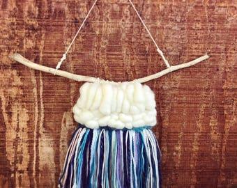 Sam// small wallhanging / handwoven /  roving / yarn / driftwood / wallhanging / wall art / home decor