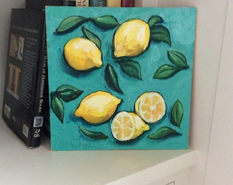 Lemons with leaves over blue oil painting still life, lemon painting, lemon still life, lemon art, kitchen art, affordable painting