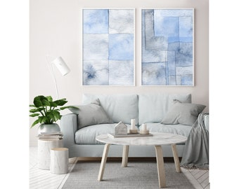 Large abstract art, watercolor painting, blue watercolor, large wall art, abstract painting, modern painting, modern abstract art, art print