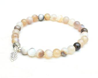 Agate bracelet, Botswana agate, Sterling silver, Agate jewelry, Stretch bracelet, Dainty bracelet, Layering bracelet, Brown bracelet