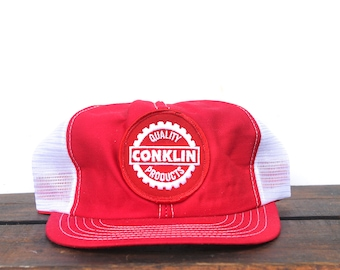 Vintage Conklin Quality Products Roofing Made In USA Trucker Hat Snapback Baseball Cap Patch