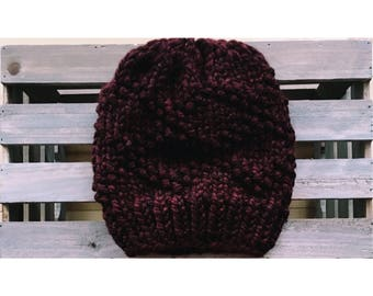 Bulky Etta Hat-Claret (Ready To Ship)