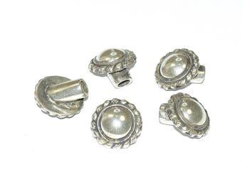 Tip / Terminal metal Zamak - Sunflower (20mm) circular - Round (hole 5mm) - silver - leather EMBTCR515AG454