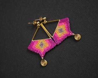Pink and Gold Earrings, Boho Chic Earrings, Ethnic Earrings, Pink Minimalist Earrings, Geometric Earrings, Golden Geometric Stud Earrings