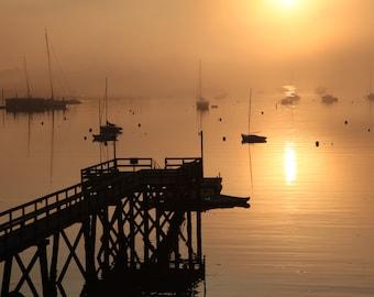 Southwest Harbor Maine Sunrise, Acadia National Park, Dock, Water, Harbor, Sail Boats, Landscape Photography, Nature Photography, Wall Art