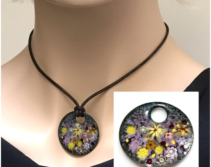 Featured listing image: Handmade Copper Enameled Pendant, Impressionist Pastel Flower Garden, Kiln Fired Vitreous Enamel, Ready to Mail, Beautiful Gift for Her