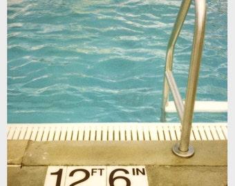 Polaroid Photograph - Swimming Pool Print - Summer Art - Deep - Fine Art Photograph - Polaroid Art - Vintage Print - Pool Art - Home Decor