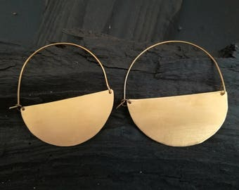 Brass hoop earrings, half circle hoop earrings, big hoop earrings, minimal hoops, half moon earrings, boho hoops, geometric hoops, birthday