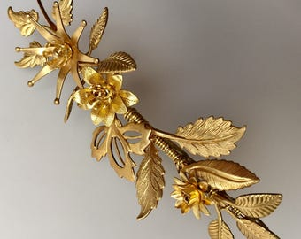 The FLORA Crown - Leaf Leaves Flower Floral Tiara Headband, Gold, Grecian, Elegant, Bohemian. Bride, Bridesmaid, Prom. Flower Crown.