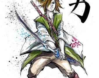 Zelda Japanaese calligraphy art 5-Piece Set Link Ganon Zelda 8x10 PRINTS by Mycks
