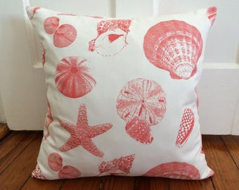 Coral Shells Pillow Cover, Beach Decor Pillow Cover, Shells White/Coral Pillow Cover