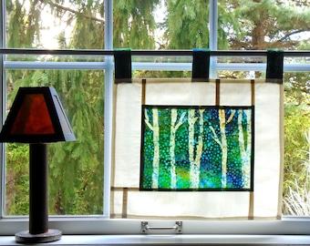 Birch Forest ~ Bleached Art Batik ~ Stained Glass Look Fabric Pojagi Window Treatment / dorm / cafe / boudoir curtain