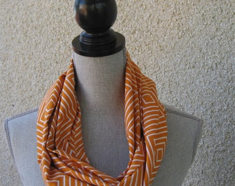Fabric scarf, Infinity scarf, tube scarf, eternity scarf, loop scarf, long scarf in a tangerine cotton fabric