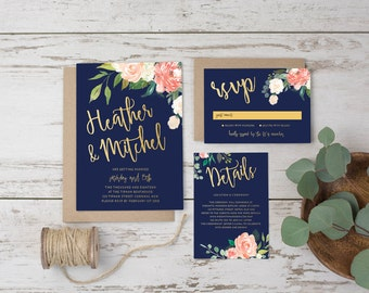 DIY Printable Watercolour Floral Wedding Invitation Main Invitation | Save the Date | RSVP | Details | Calligraphy Script | Navy & Gold