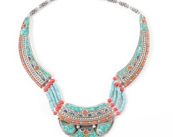 Tibetan Sterling Silver, Coral, Turquoise Colored Stone, and Lapis Collar Necklace