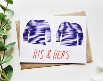 His & Hers Hipster Anniversary Valentines Card