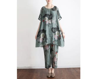 Womens Summer Retro Loose Fitting Printed Floral Short Sleeve Linen Blouses And Loose Pants, Womans Casual Blouses, Casual Tops,Casual Pants
