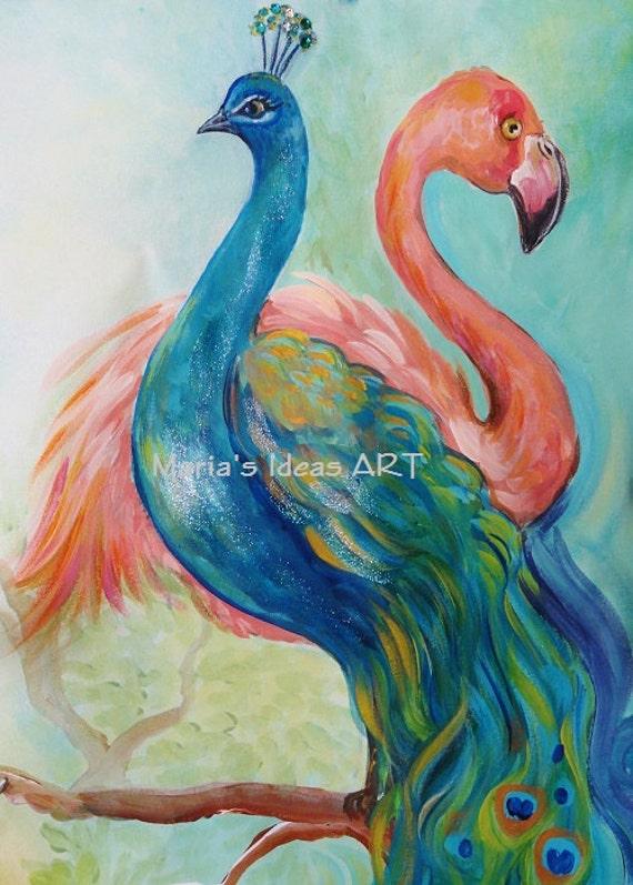 Peacock Art Flamingo Art Two Birds Bird Wall Art Exotic