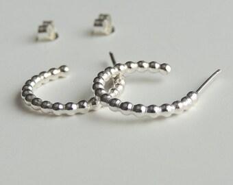 Sterling Silver Hoops Small Stud Earrings Beaded Post Hoop Earrings Silver Studs