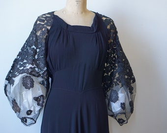 1930s Bias Cut with Black lace Sleeve- AS IS