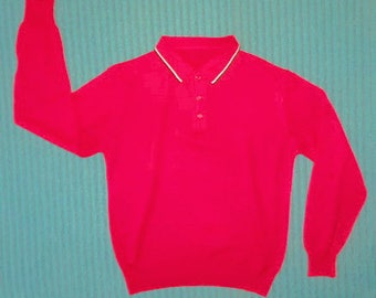 """Mid Century Men's Knitwear. Polo Top, Long Sleeves.Size 40"""" Chest"""