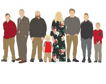 Custom Family Portrait Digital  Illustration 2-10 People
