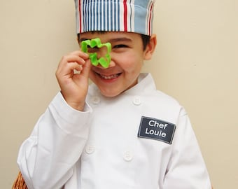 Kid's Chef Costume, Boy or Girl, Personalized Chef Jacket, White Chef Coat, Chef Hat, Trouser Option, Embroidery or Printed Name, Baking Set