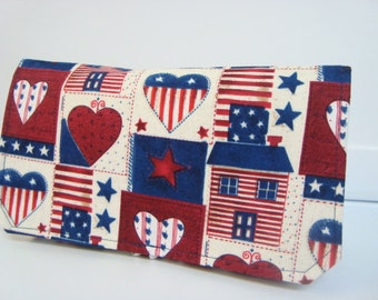 40% Off Coupon Organizer Wallet Cash Budget Organizer Holder- Attaches to your Shopping Cart - American Hearts and Stripes