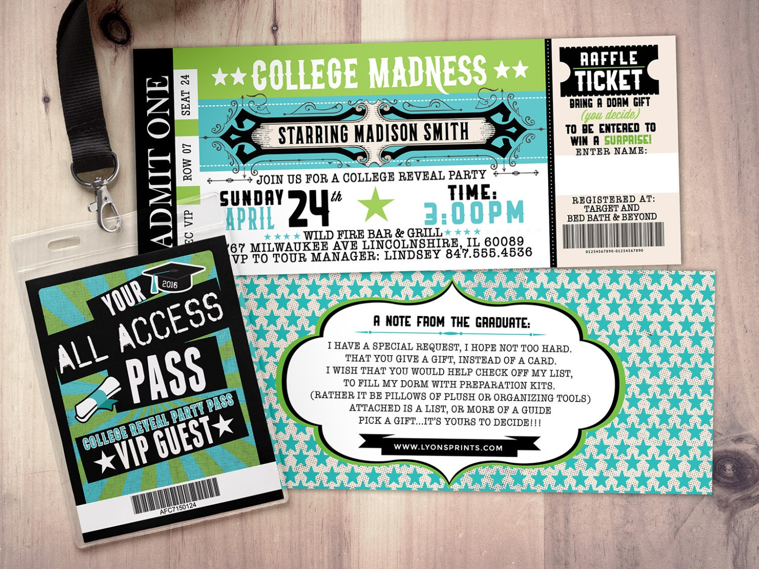 Super College reveal party, Concert ticket, graduation party invitation  JJ46