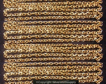 12ft Gold plated flat oval twist 6x4mm bulk large cable link necklace chain ch118