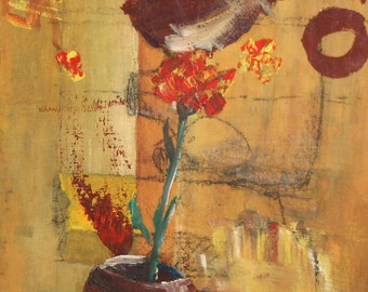 Expressionist still life with flower oil painting signed