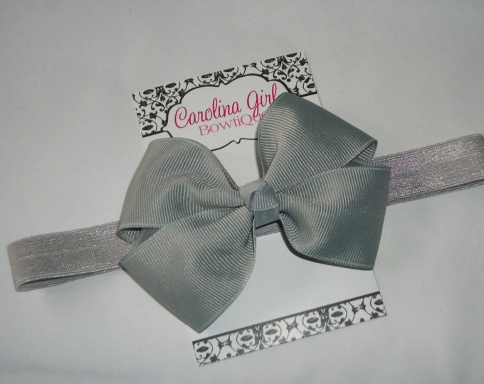Millenium Silver Bow Band - Silver Bow on an Elastic Headband Baby Infant Toddler - Girls Hair Bows