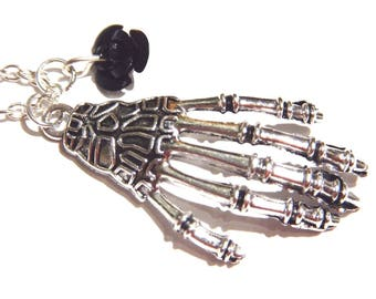 Silver Skeletal Hand Pendant on Chain Necklace with Black Rose 2P