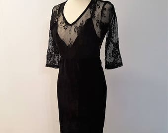 Vintage Black Velours and Lace Dress with Embellished Hem