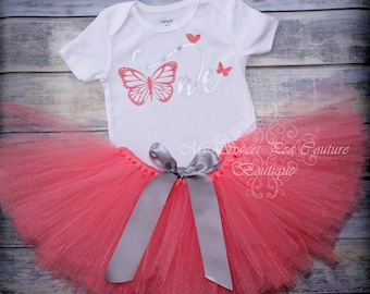 Butterfly First Birthday Tutu Outfit- Cake Smash Outfit- 1st Birthday Outfit- Butterfly Birthday- First Birthday Outfit- One- Butterfly