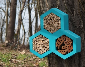 BEE HOTEL, Insect house, Mason bee home - Trianglehotel Turquoise
