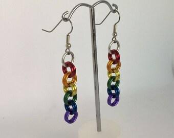 Rainbow Pride drop earrings